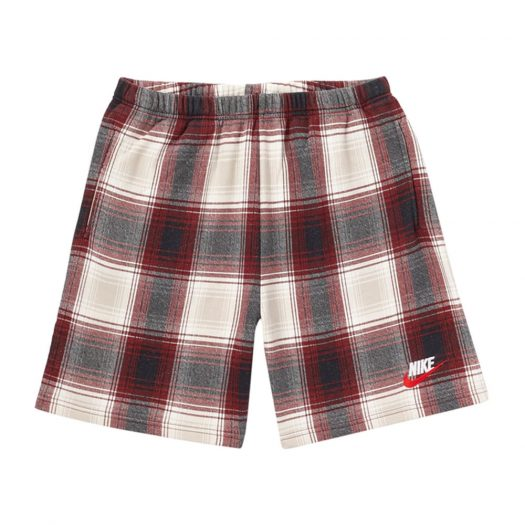 Supreme Nike Plaid Sweatshort Burgundy