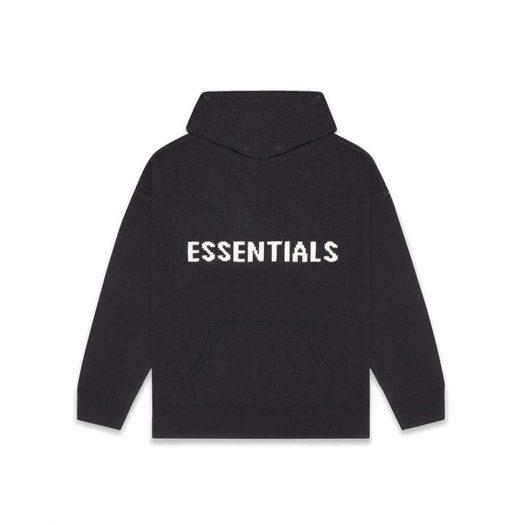 Fear Of God Essentials Knit Hoodie Dark Slate/stretch Limo/black