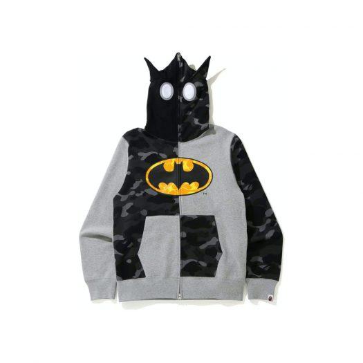 Bape X Dc Batman Full Zip Hoodie Gray