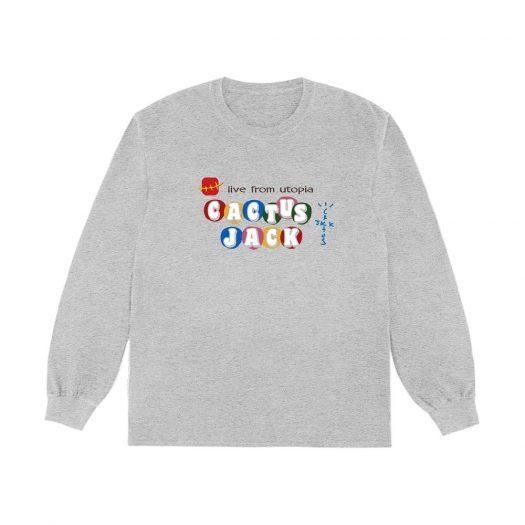 Travis Scott x McDonald's Cj Live From Utopia L/S T-Shirt Grey