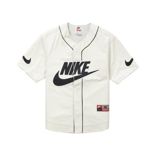 Supreme Nike Leather Baseball Jersey White