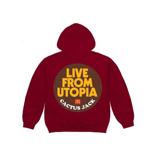 Travis Scott x McDonald's Live From Utopia Sticker Hoodie Burgundy