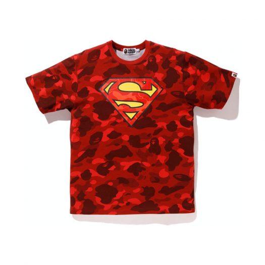 Bape X Dc Superman Color Camo Tee Red