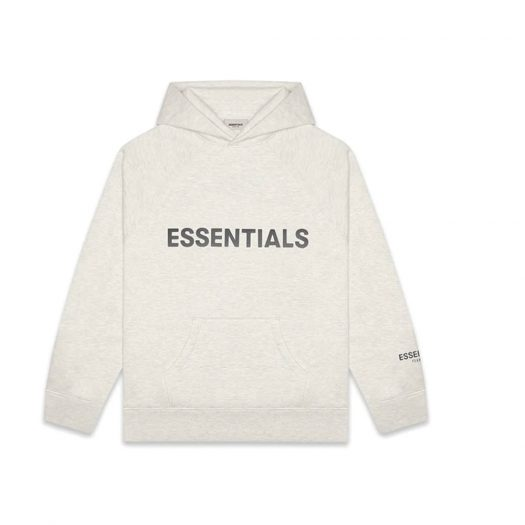 Fear Of God Essentials Pullover Hoodie Applique Logo Light Heather Oatmeal