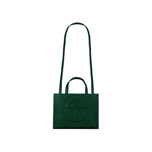 Telfar Shopping Bag Medium Dark Olive in Vegan Leather with Silver-tone
