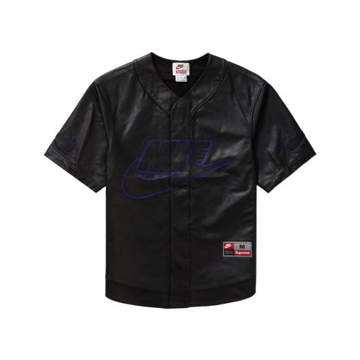 Supreme Nike Leather Baseball Jersey Black
