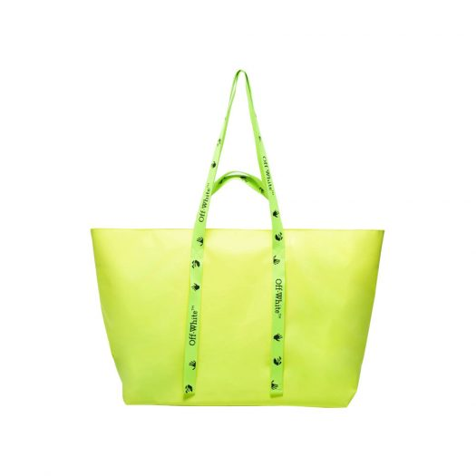 """OFF-WHITE Commercial Tote Bag """"SCULPTURE"""" Yellow/Black in PVC with Silver-tone"""