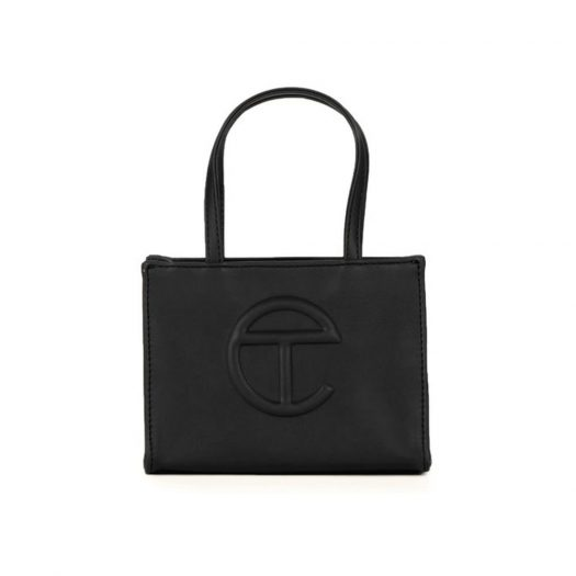 Telfar Shopping Bag Small Black in Vegan Leather with Silver-tone