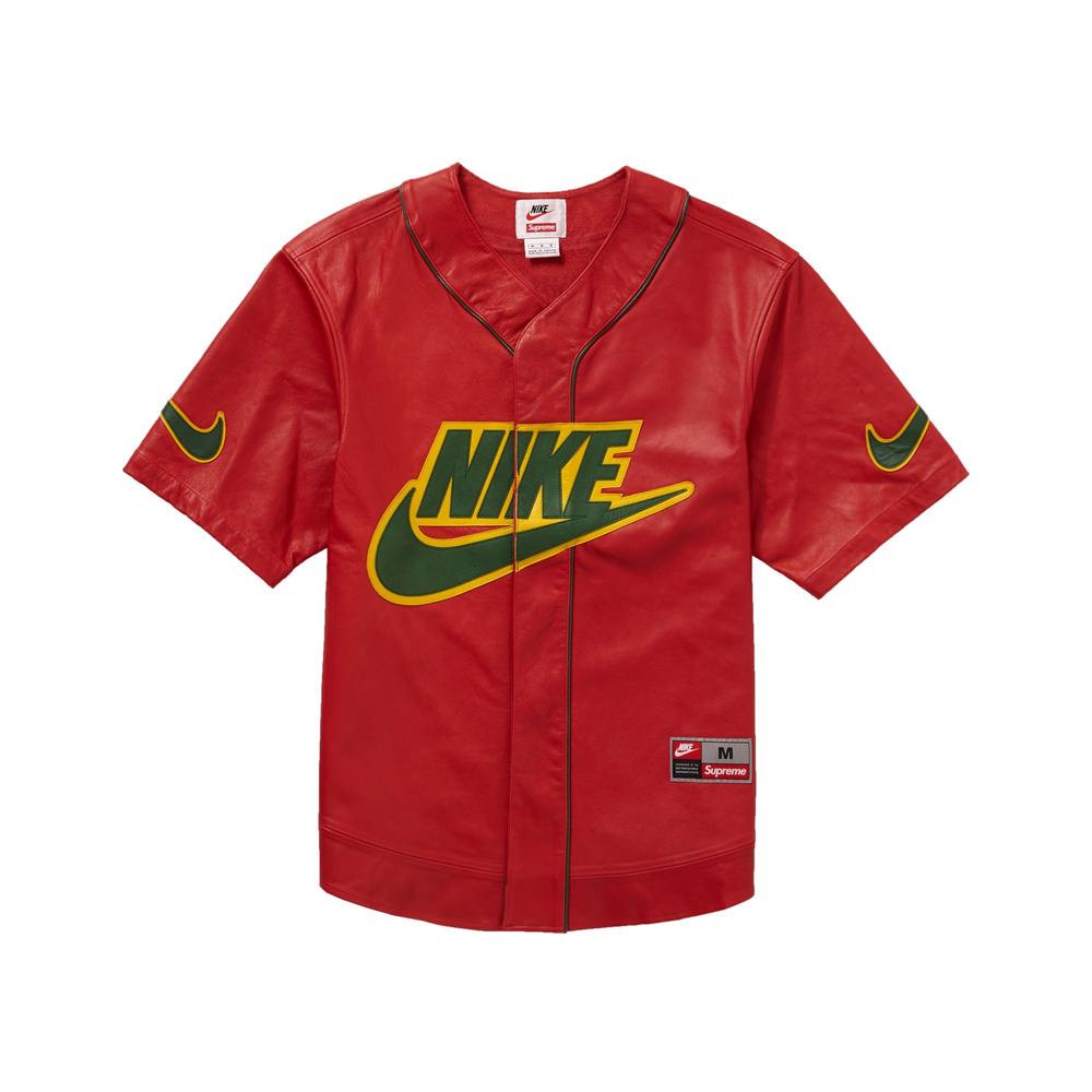 Supreme Nike Leather Baseball Jersey Red