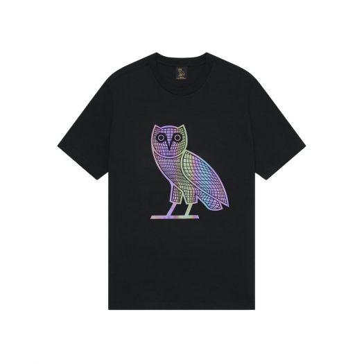 OVO Iridescent Grid Owl T-Shirt Black