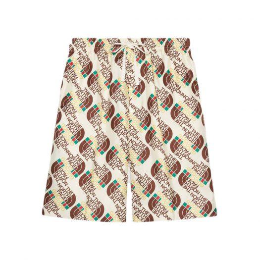 Gucci x The North Face Web Print Silk Shorts Ivory/Brown/Green