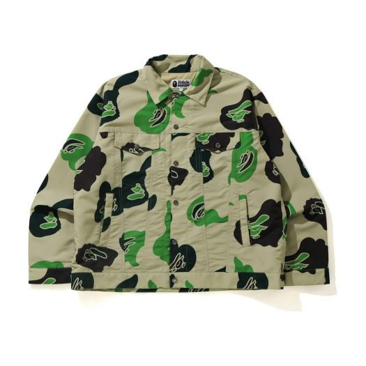 Bape Def Camo Loose Fit Trucker Jacket Beige