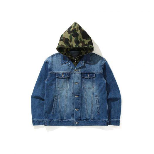 Bape 1st Camo Loose Fit Hoodie Denim Jacket Indigo