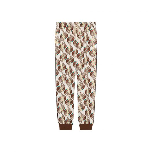 Gucci x The North Face Web Print Technical Jersey Jogging Pant Ivory/Brown