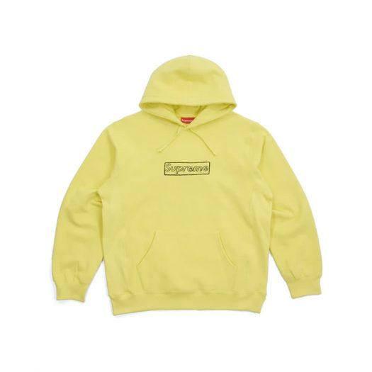 Supreme KAWS Chalk Logo Hooded Sweatshirt Light Lemon