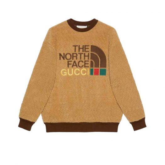 Gucci x The North Face Faux Fur Sweatshirt Brown