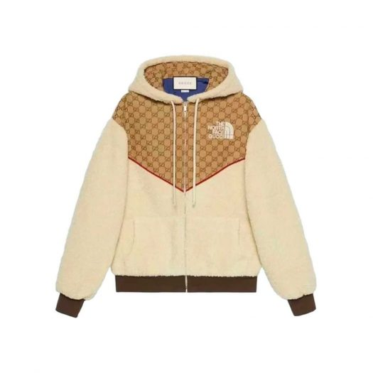 Gucci x The North Face GG Canvas Shearling Jacket Beige