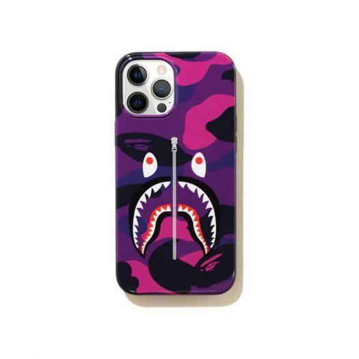 Bape Color Camo Shark Iphone 12 Pro Max Case Purple