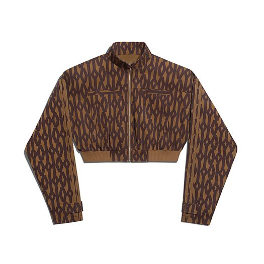 adidas Ivy Park Crop Monogram Track Jacket (Plus Size) Wild Brown/Night Red