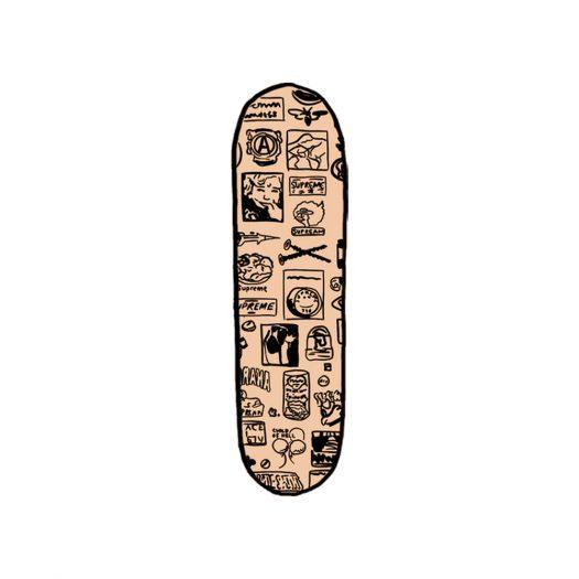 Supreme Stickers Skateboard Deck Tan