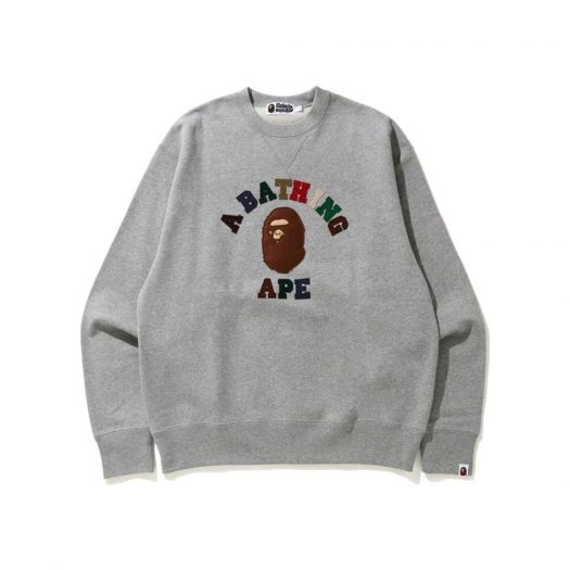 Bape College Applique Relaxed Fit Crewneck Gray