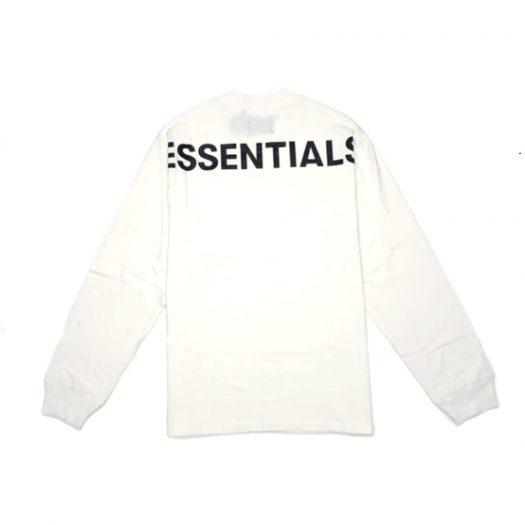 Fear Of God Essentials 3m Logo Long Sleeve Boxy T-shirt White