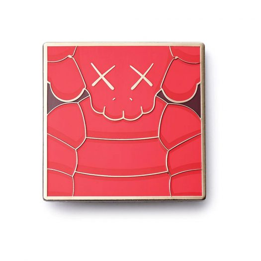 KAWS Brooklyn Museum WHAT PARTY Square Pin Red