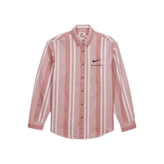 Supreme Nike Cotton Twill Shirt Pink Stripe