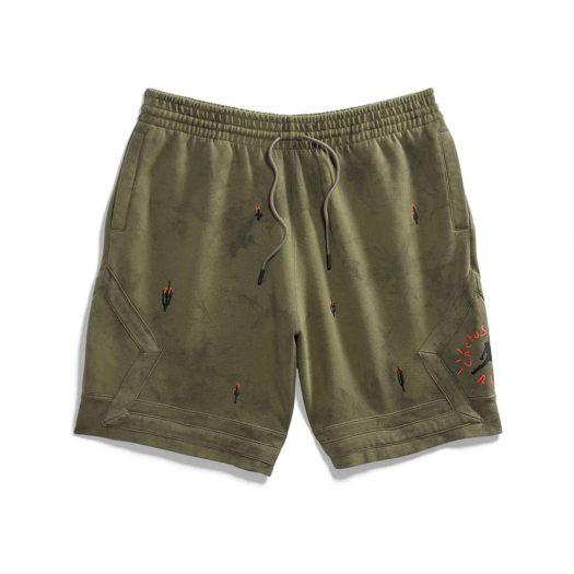 Travis Scott Jordan Washed Suede Shorts Olive