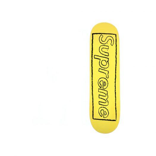Supreme KAWS Chalk Logo Skateboard Deck Yellow