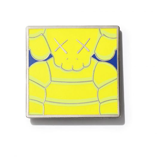 KAWS Brooklyn Museum WHAT PARTY Square Pin Yellow