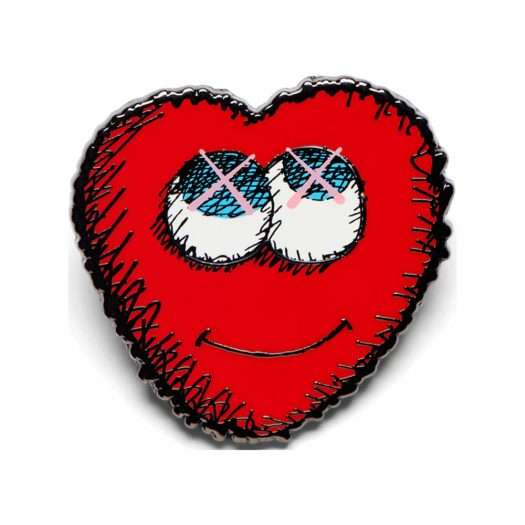 KAWS Heart Pin Red