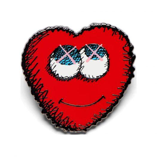 KAWS Heart Pin Red