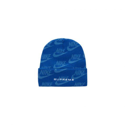 Supreme Nike Jacquard Logos Beanie Blue