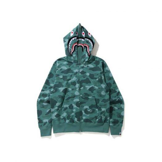 Bape Color Camo Shark Wide Full Zip Double Hoodie Green