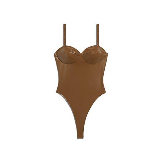 adidas Ivy Park Latex Bodysuit Wild Brown