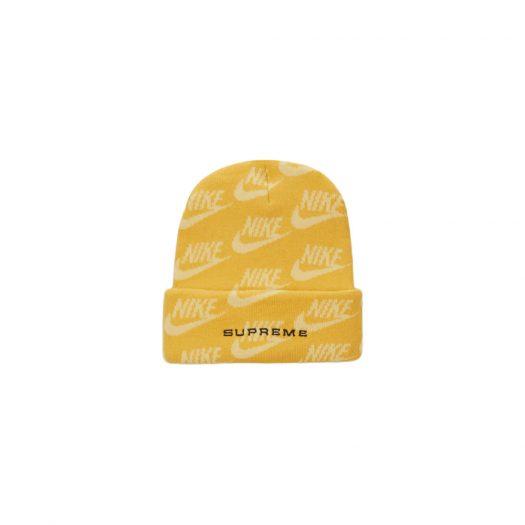 Supreme Nike Jacquard Logos Beanie Pale Yellow