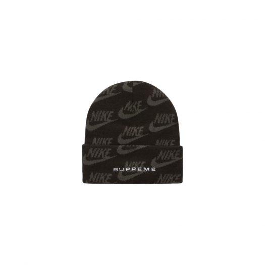 Supreme Nike Jacquard Logos Beanie Black