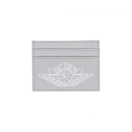 Dior x Jordan Wings Card Holder (4 Card Slot) Grey in Calfskin with Silver-tone