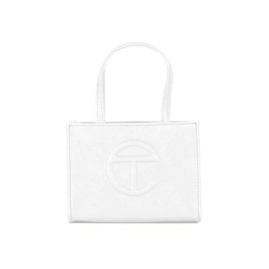 Telfar Shopping Bag Small White in Vegan Leather with Silver-tone