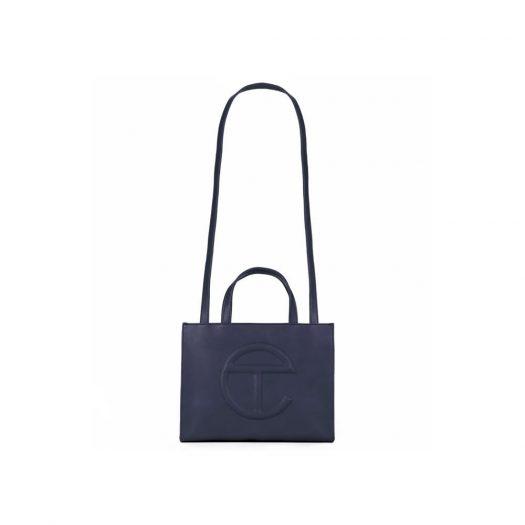 Telfar Shopping Bag Medium Navy in Vegan Leather with Silver-tone