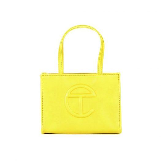 Telfar Shopping Bag Small Yellow in Vegan Leather with Silver-tone
