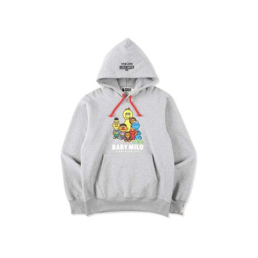 Bape X Sesame Street Pullover Hoodie Gray