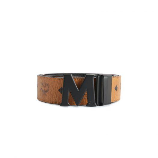 MCM Claus M Reversible Belt Visetos Matte Black-tone 1.75W 51In/130Cm Cognac in Coated Canvas with Matte Black-tone