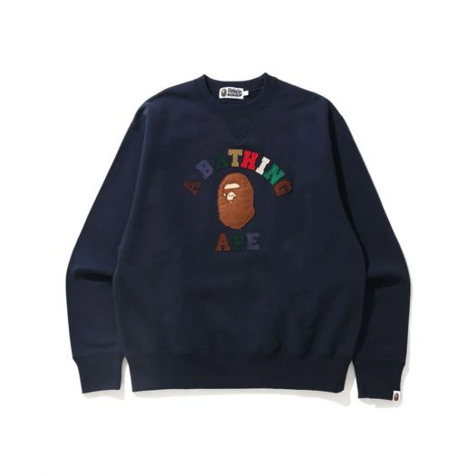 Bape College Applique Relaxed Fit Crewneck Navy