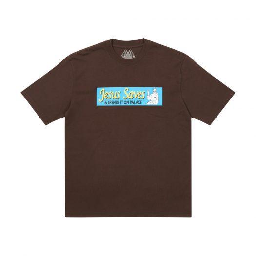 Palace Jesus Saves T-Shirt Brown