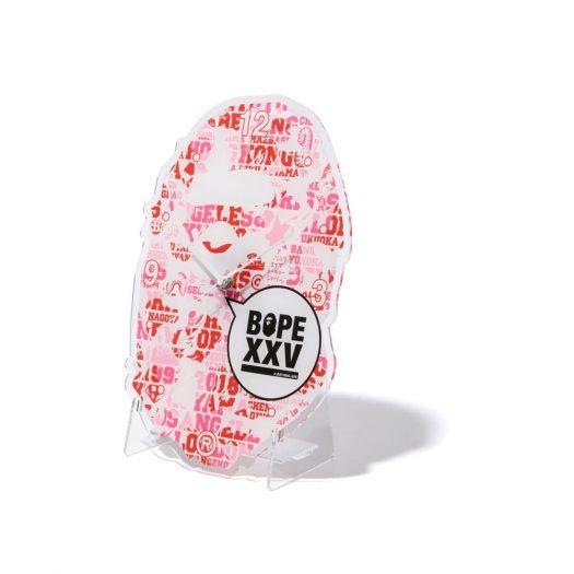 Bape Xxv Ape Head Clock Pink