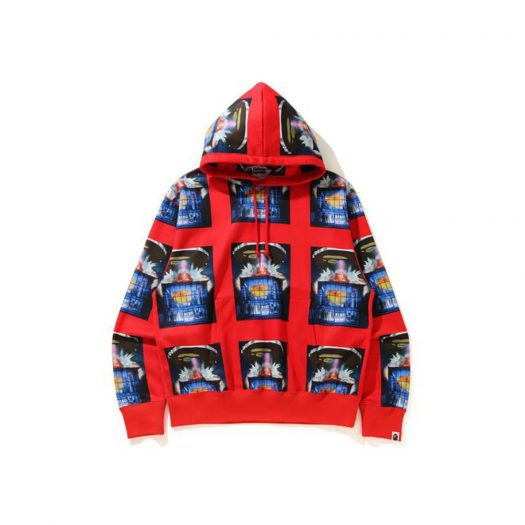 Bape Invasion Relaxed Pullover Hoodie Red