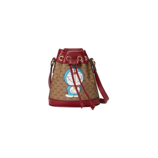 Gucci x Doraemon Bucket Bag Mini Ebony/Beige in Canvas with Gold-tone