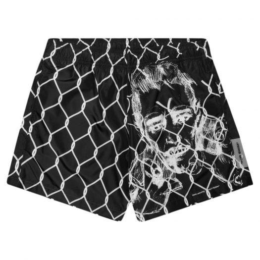 OFF-WHITE Broken Fence Swim Shorts Black/White